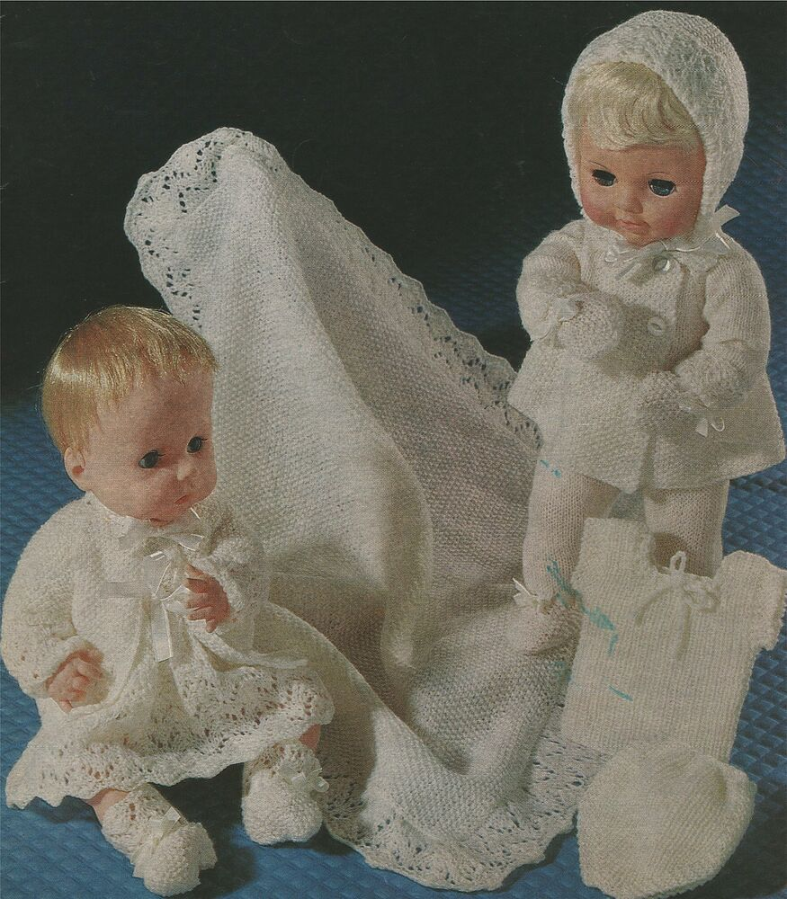 Knitting Patterns For Tiny Dolls : Dolls Clothes Knitting Pattern : Layette : Tiny Tears : 14 ...