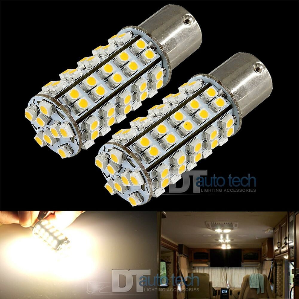 20x 1156 Ba15s Rv Trailer 12v Led Lights Bulbs 68 Smd Warm