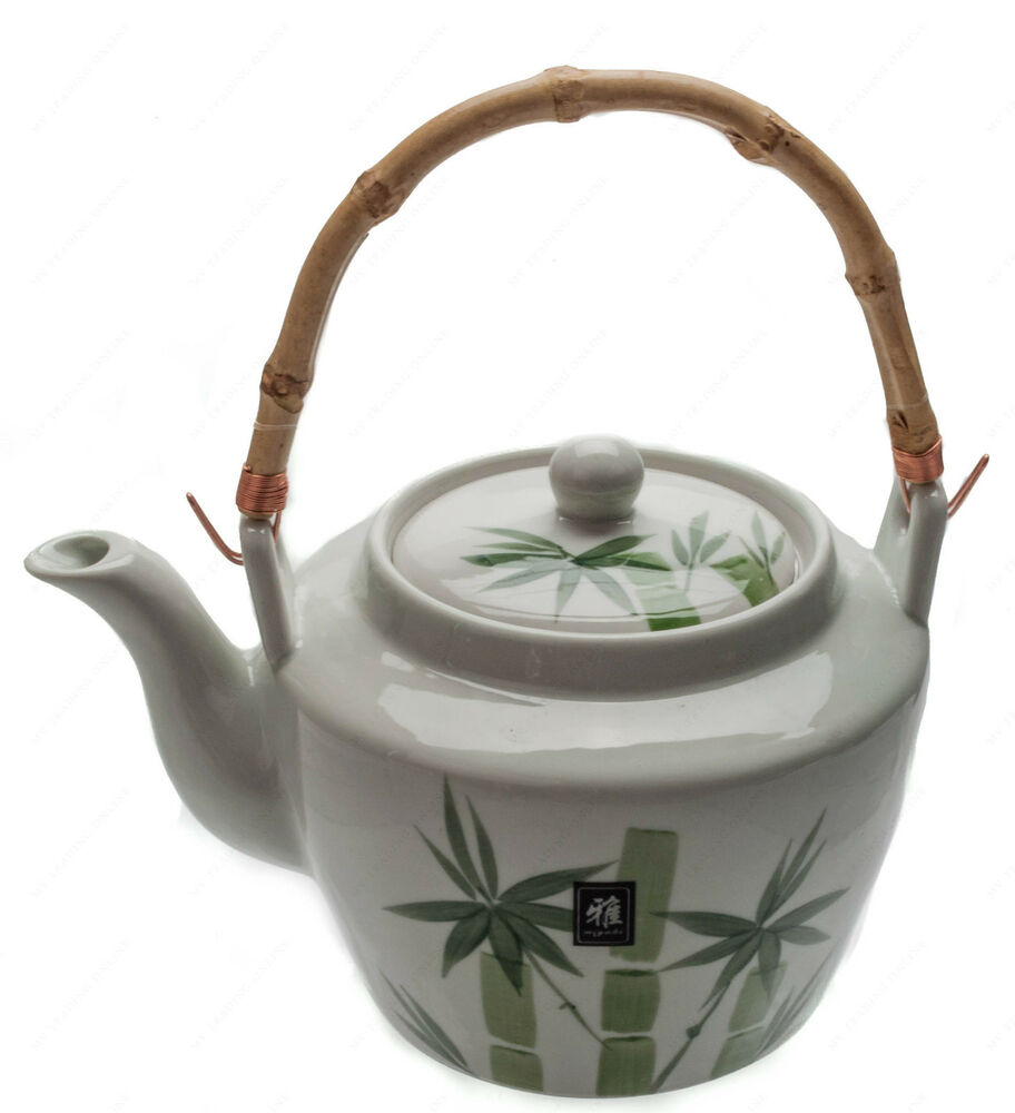 Japanese fuji bamboo pattern tea pot 68 oz with bamboo design with strainer ebay - Japanese teapot with strainer ...