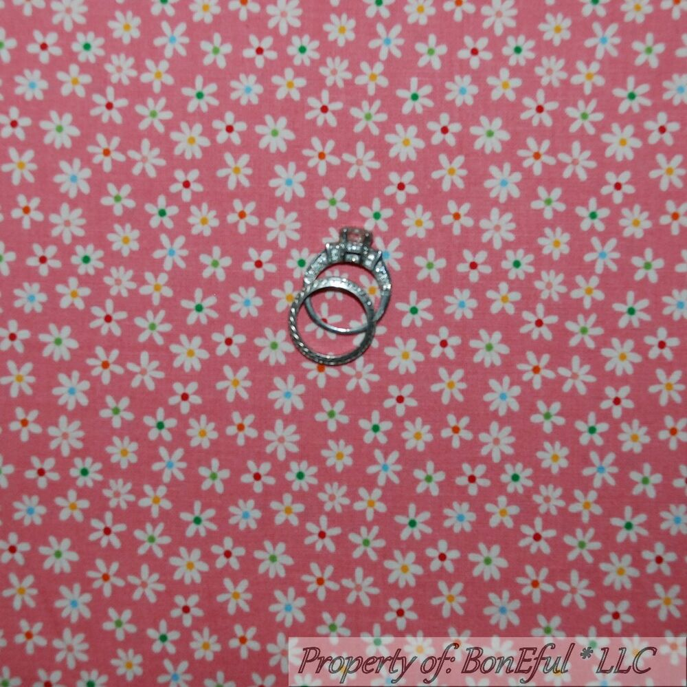 Boneful Fabric Fq Cotton Quilt Pink Blue White Flower Baby