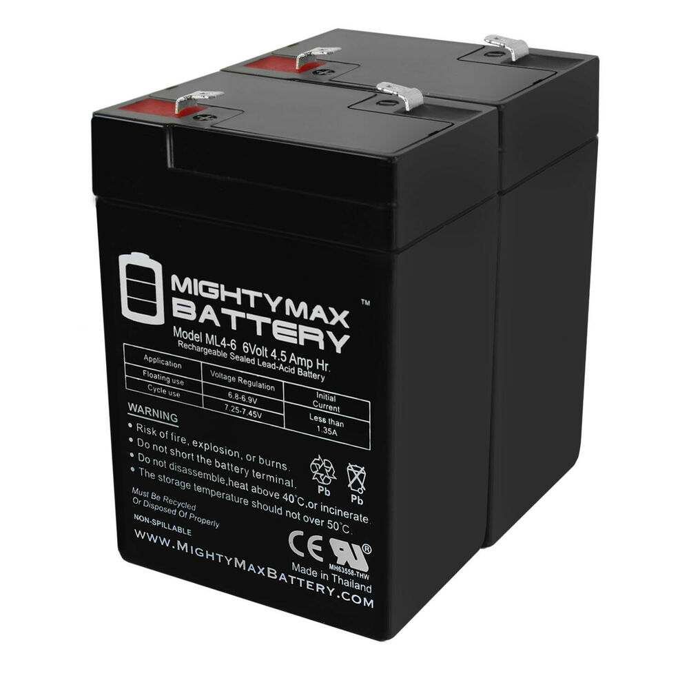 mighty max ml4 6 6 volt 4 5 ah sla battery 2 pack ebay. Black Bedroom Furniture Sets. Home Design Ideas