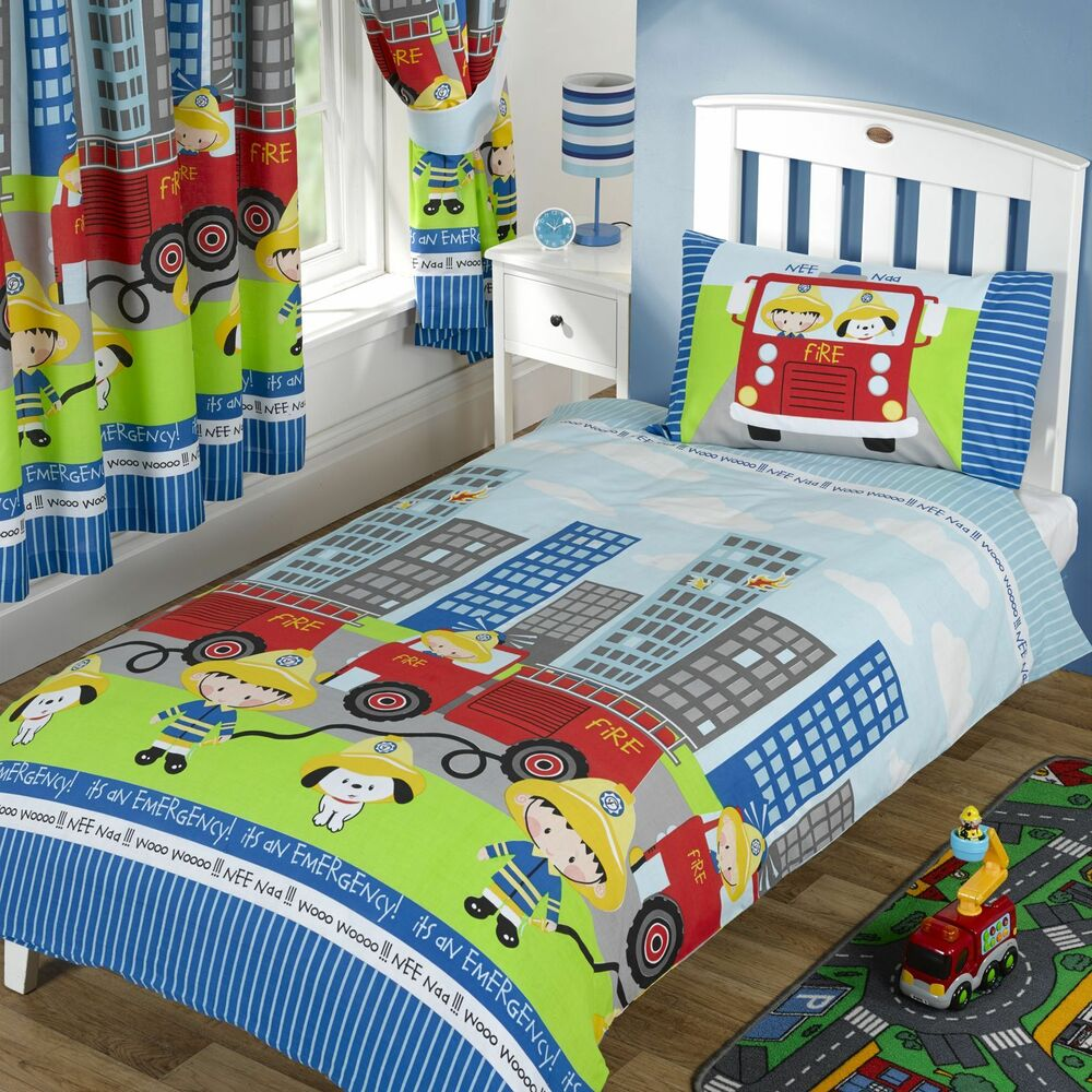 Fire engine nee naa single duvet cover set boys bedding ebay