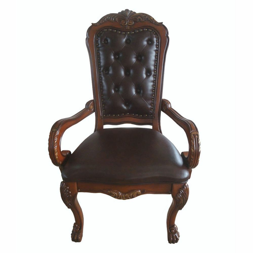 Traditional antique solid carved wood upholstery office