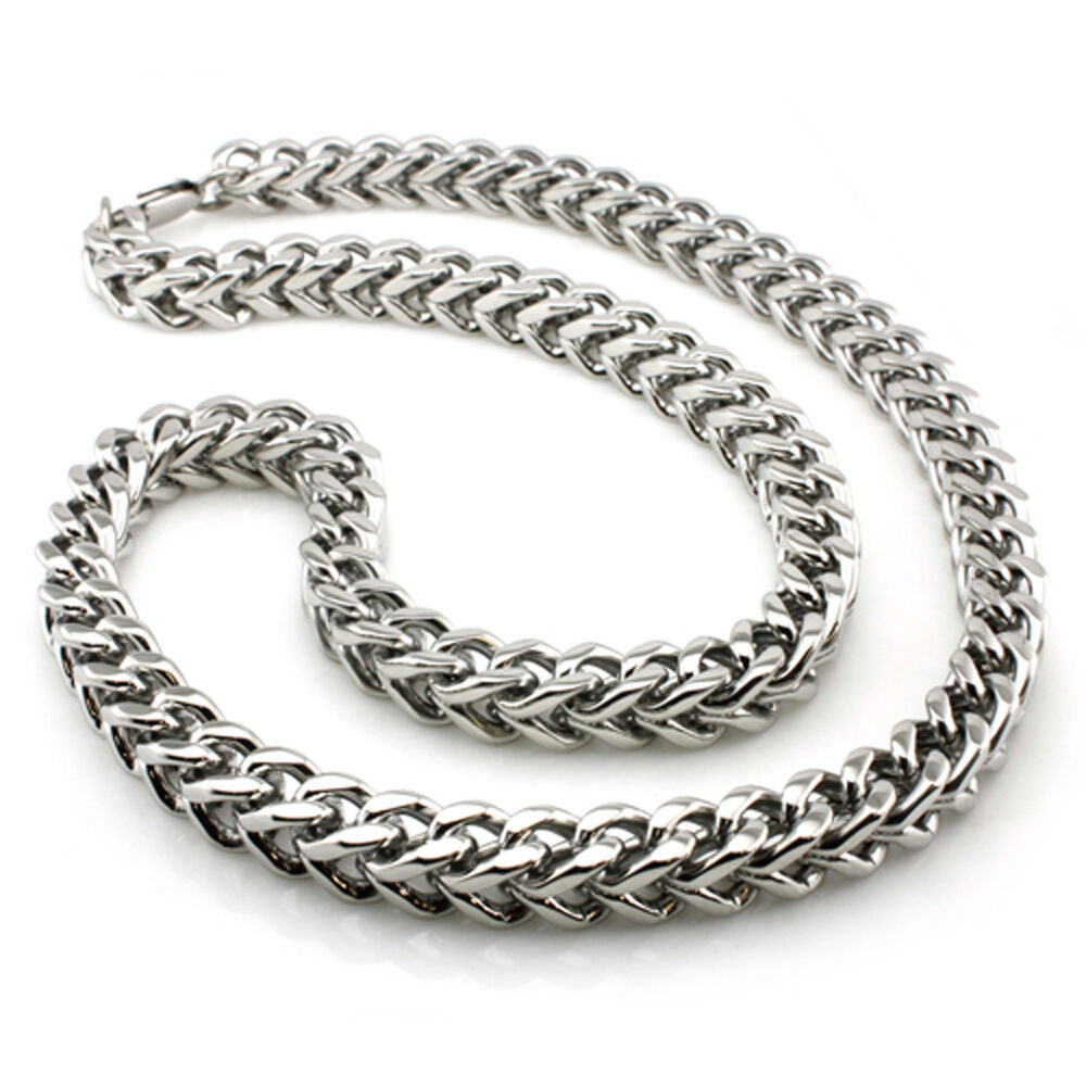 stainless steel wheat box biker chain mens necklace 9mm ebay. Black Bedroom Furniture Sets. Home Design Ideas