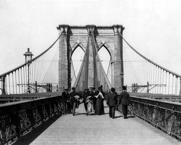 ny new york city brooklyn bridge glossy 8x10 photo print old wall art poster ebay. Black Bedroom Furniture Sets. Home Design Ideas