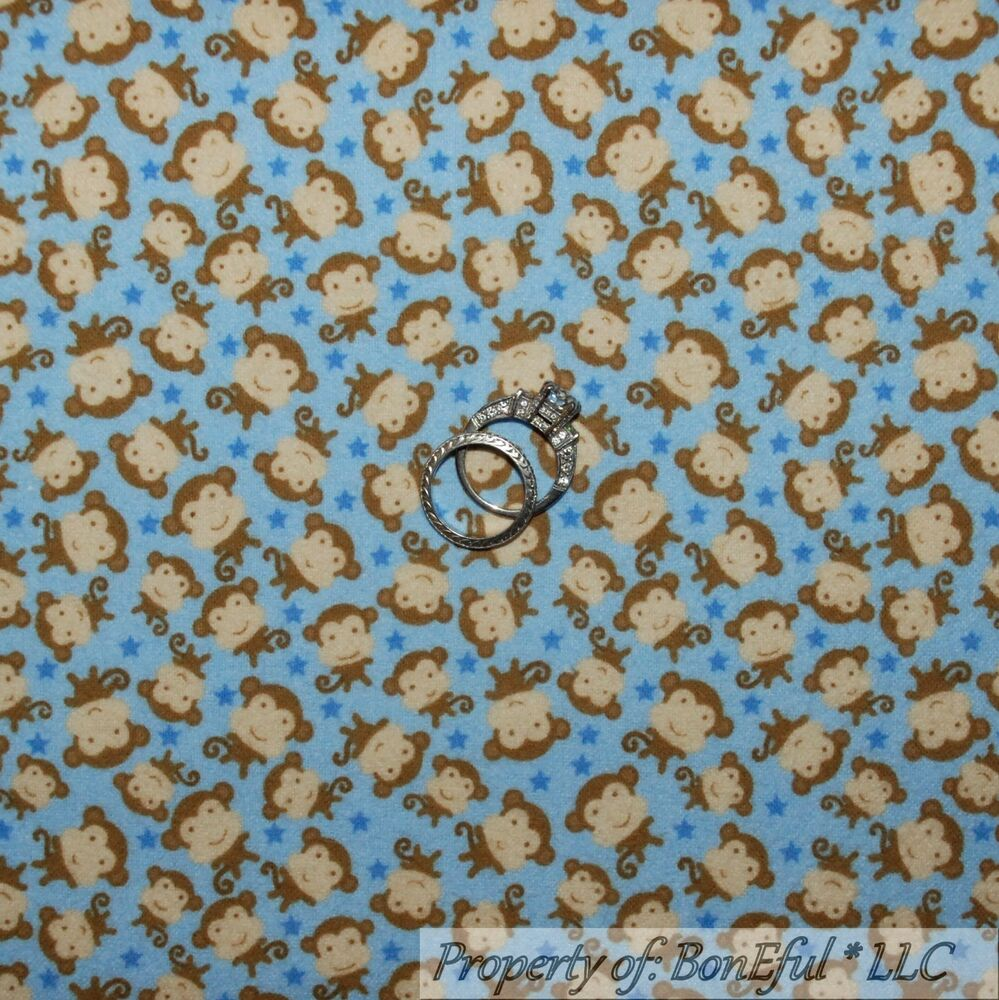 Boneful fabric fq flannel cotton quilt blue brown baby for Boy quilt fabric