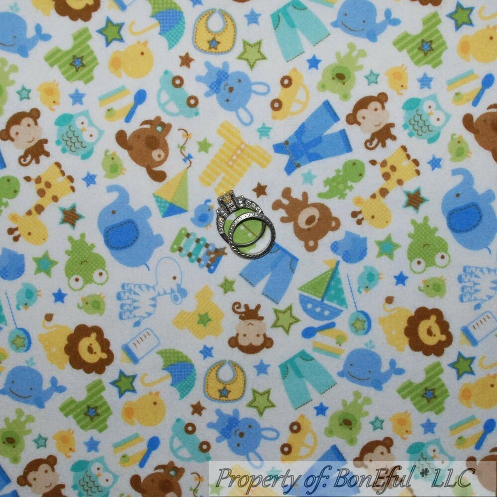 Boneful fabric fq flannel cotton quilt white yellow blue for Baby themed fabric
