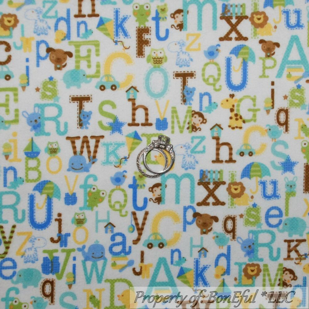 Boneful fabric fq flannel cotton quilt blue baby boy dog for Boy quilt fabric