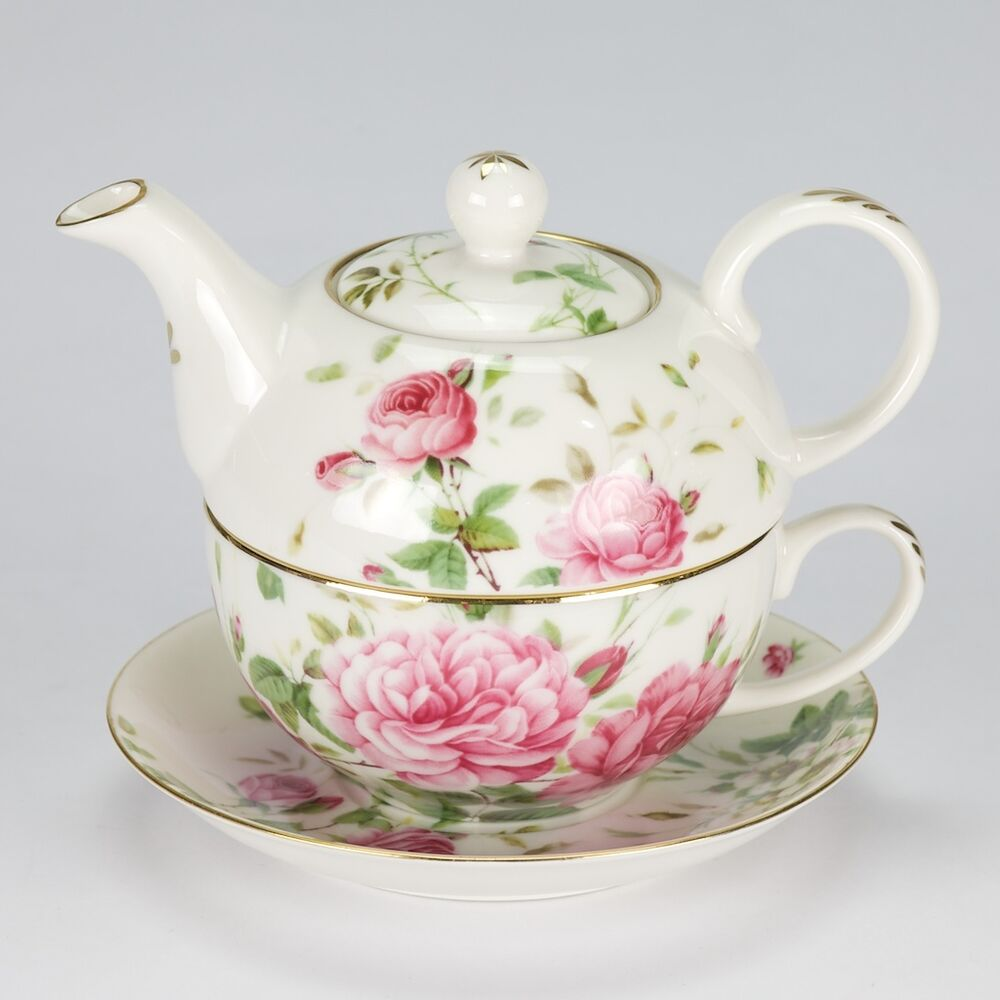 new vintage style high tea for one set teapot cup rose porcelain garden white ebay. Black Bedroom Furniture Sets. Home Design Ideas