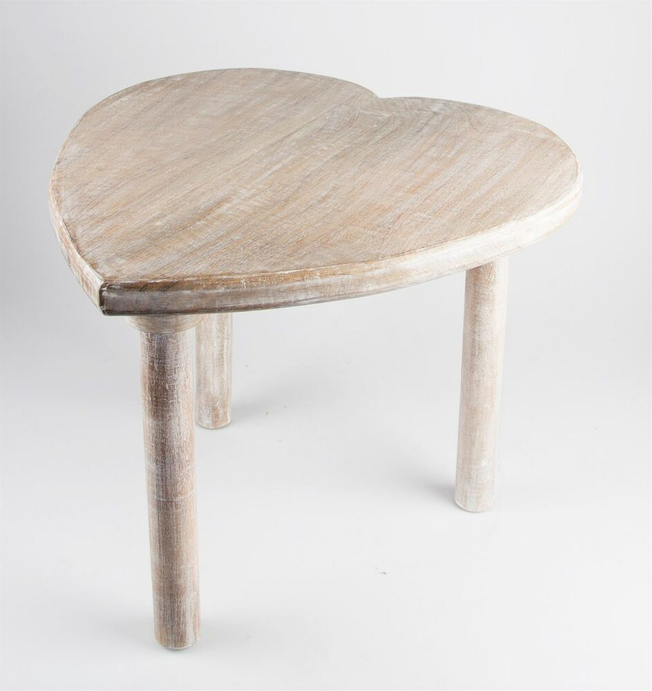 45cm Tall Vintage Chic Heart Side End Table Coffee Bedside Shabby Country Rustic Ebay