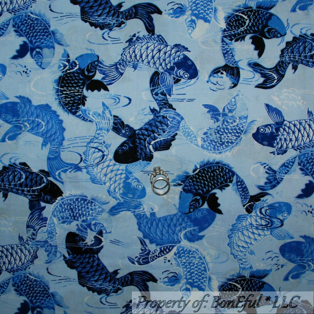 Boneful fabric fq cotton quilt blue sea fish ocean water for Fish fabric for quilting