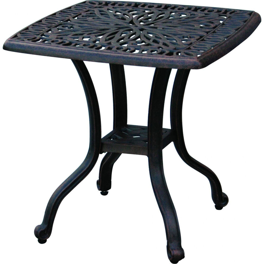 Outdoor End Table Patio Furniture Cast Aluminum Elisabeth Rust Free