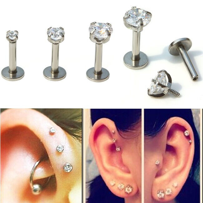 16g cz gem tragus lip ring ear cartilage stud