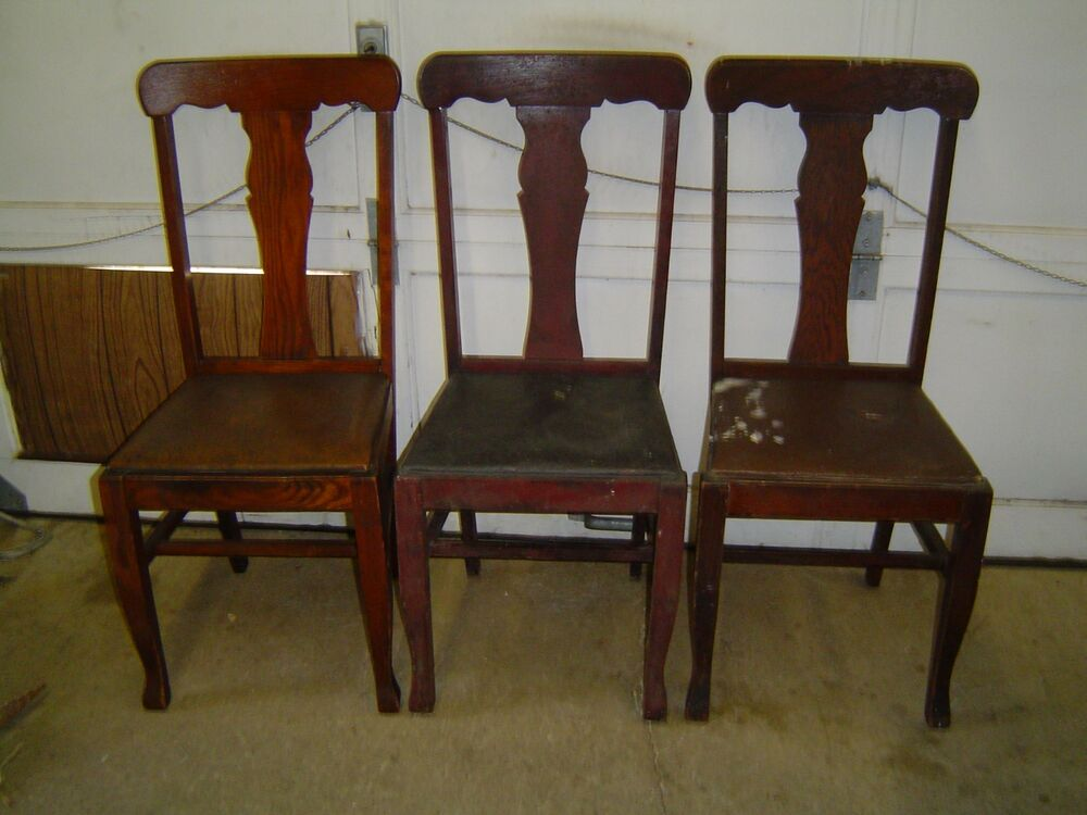 3 matching formal tiger oak t back vase back dining room for Oak dining room chairs