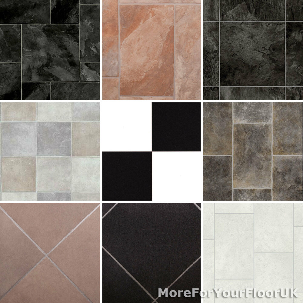 New tiled effect vinyl flooring roll quality lino stone for Vinyl laminate effect flooring