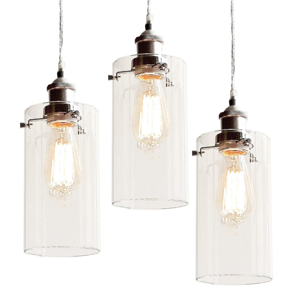 3 ALLIRA Glass Pendants Filament Light Chrome Fittings