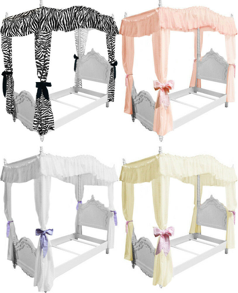 fc38 girls twin size princess bed drape canopy curtains fabric top cover ruffled ebay. Black Bedroom Furniture Sets. Home Design Ideas