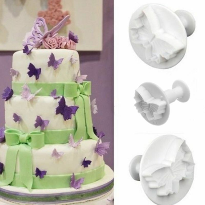 3PCS Butterfly Fondant Cake Decorating Plunger Cutter ...