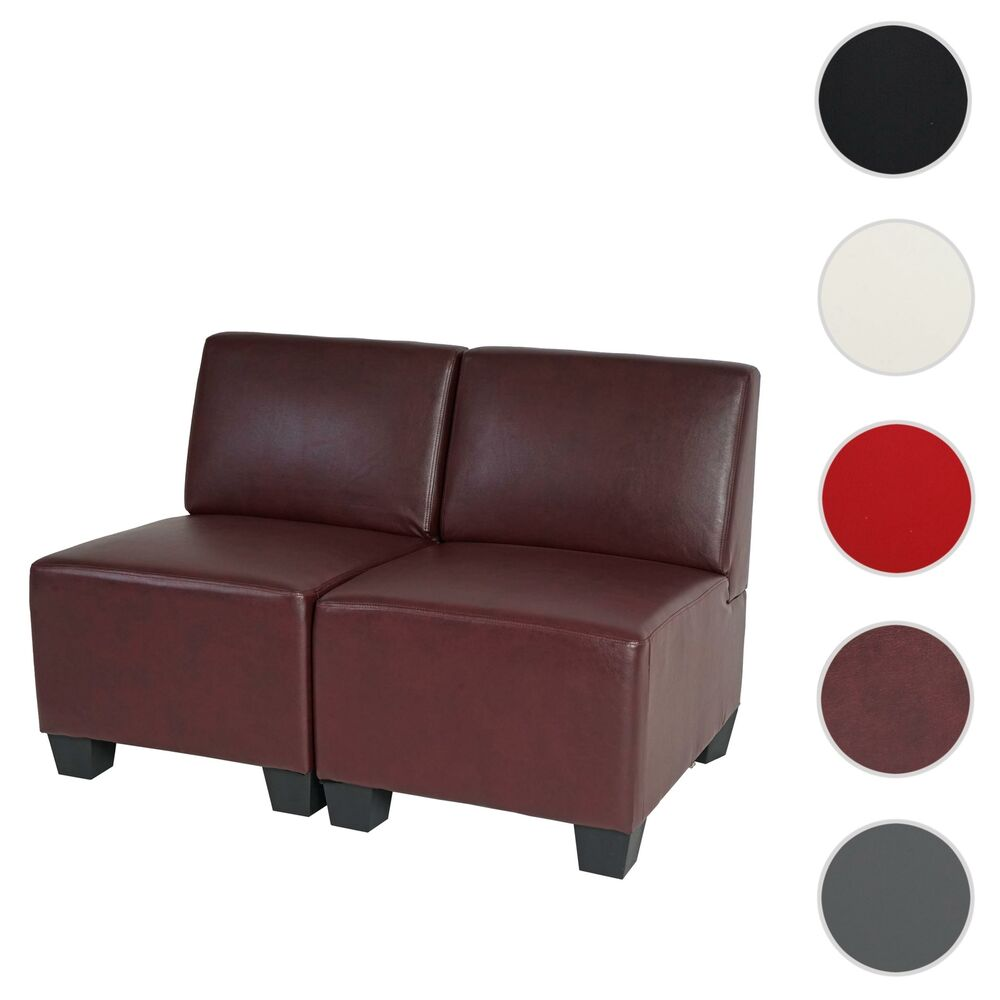 modular 2 sitzer sofa couch lyon kunstleder ohne armlehnen creme schwarz rot ebay. Black Bedroom Furniture Sets. Home Design Ideas