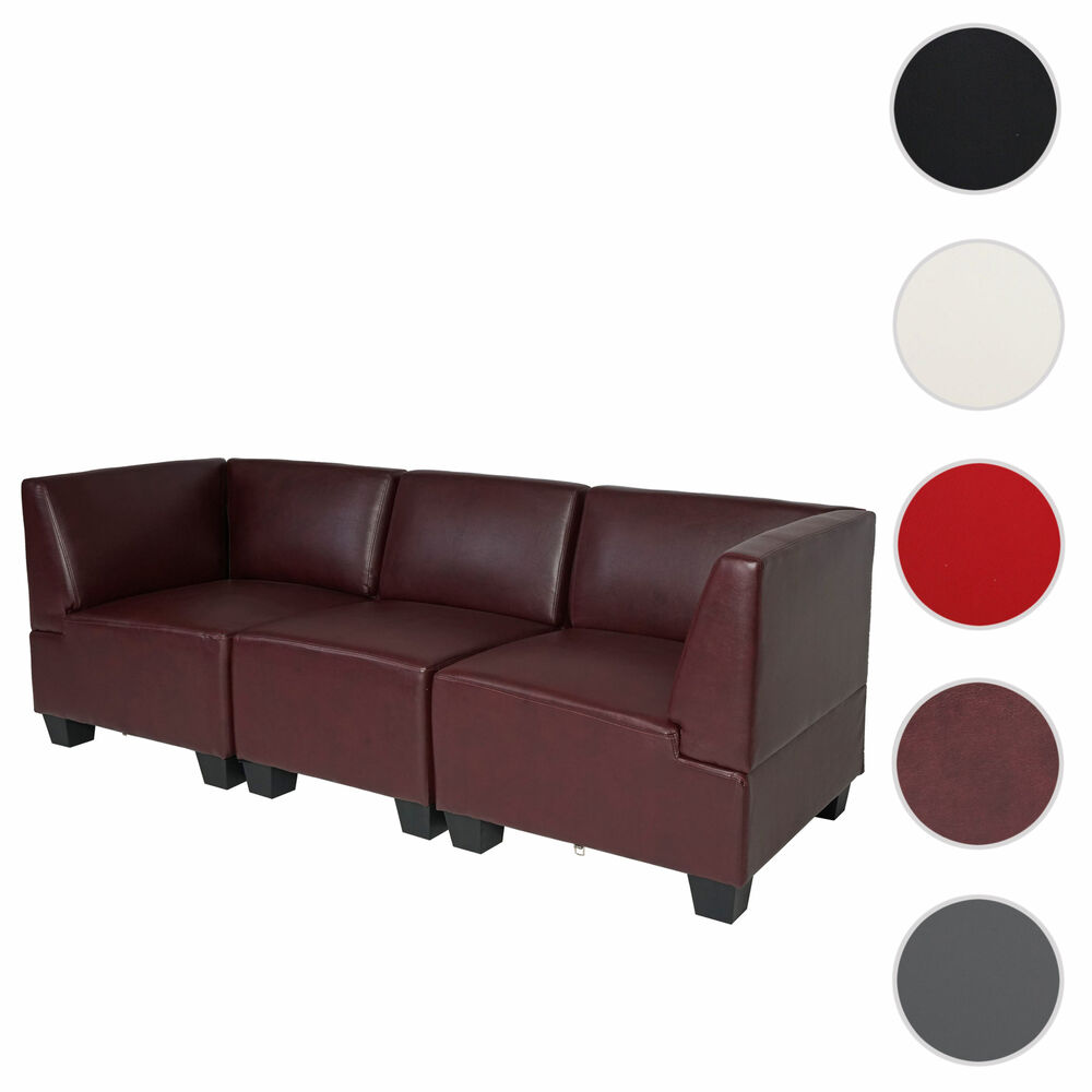 modular dreisitzer sofa couch lyon kunstleder schwarz rot creme ebay. Black Bedroom Furniture Sets. Home Design Ideas