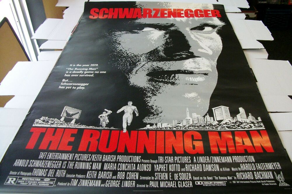 THE RUNNING MAN ROLLED POSTER ONE SHEET - 27 X 41 - 1987 ...