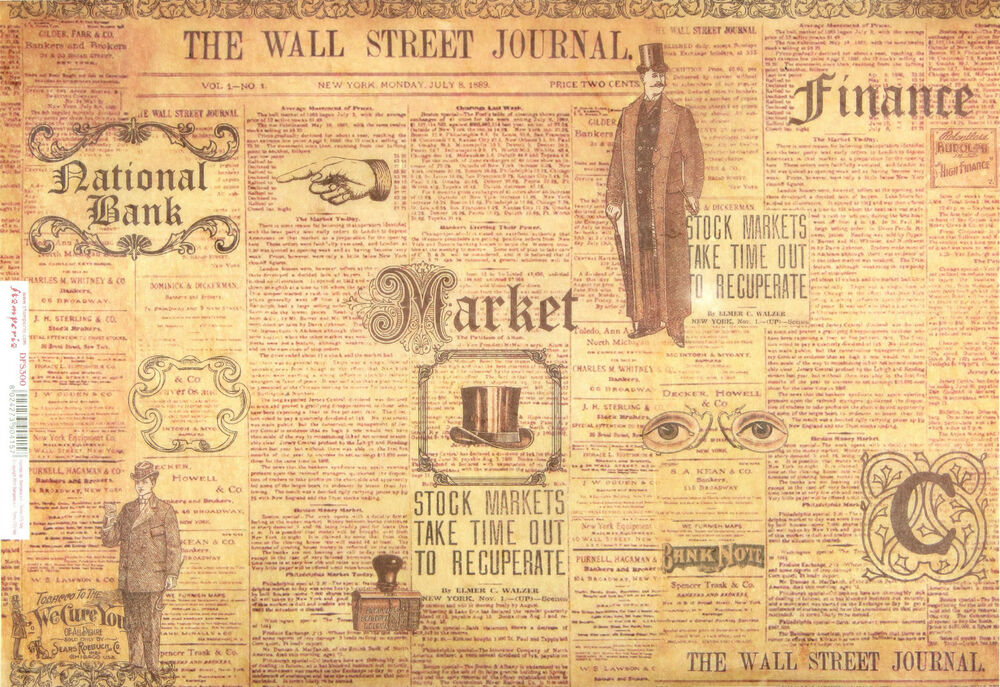 Rice Paper for Decoupage Scrapbooking Sheet Vintage The Wall Street ...