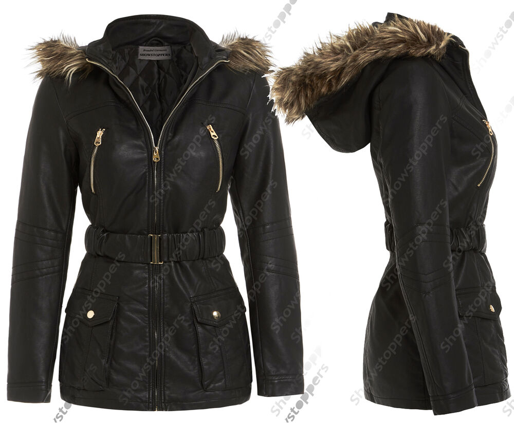 New Womens Leather Look Fur Hooded Jacket Ladies Black