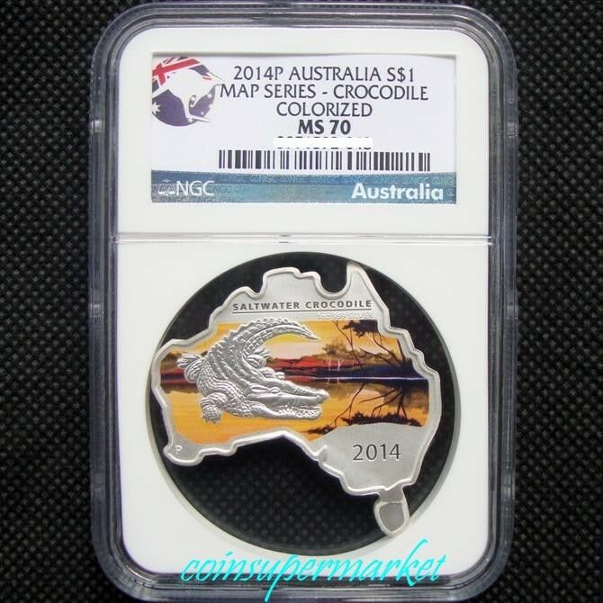 2014p Australia Map Shaped Series Crocodile 1oz Silver