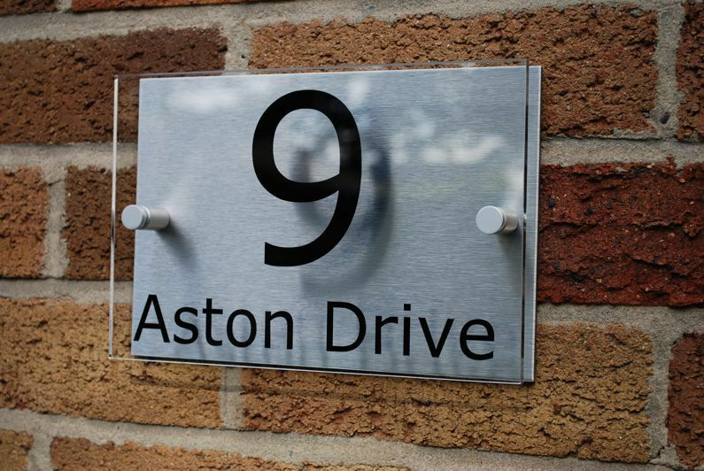 Modern house number sign plaque aluminium acrylic for Modern house number plaques