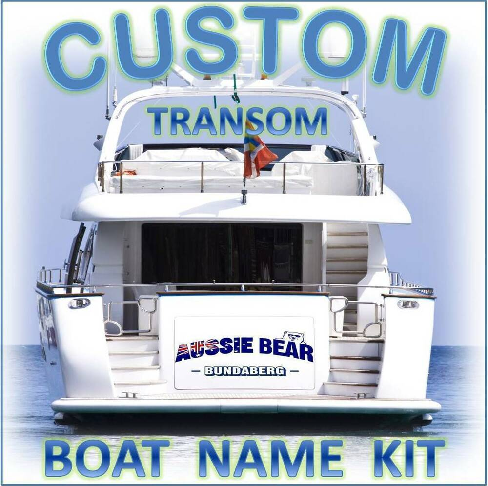 Custom boat yacht transom name 550mm cast vinyl decal for Custom outboard motor decals