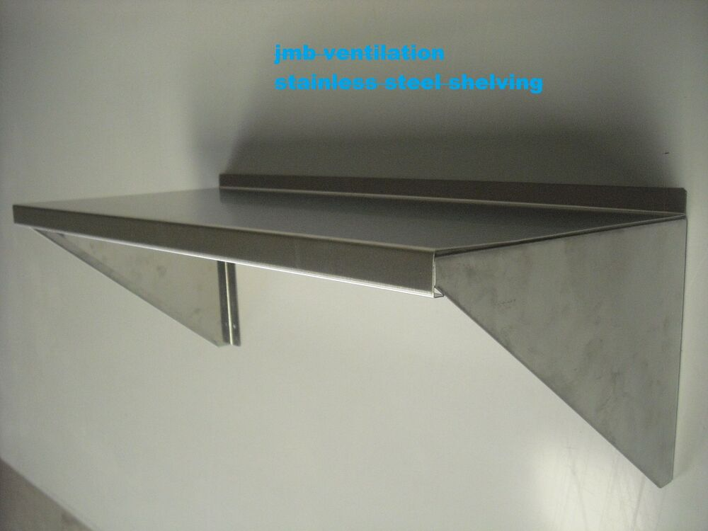 Stainless steel catering wall shelf 1200 x 300 4ft ebay for 200mm wide kitchen wall unit