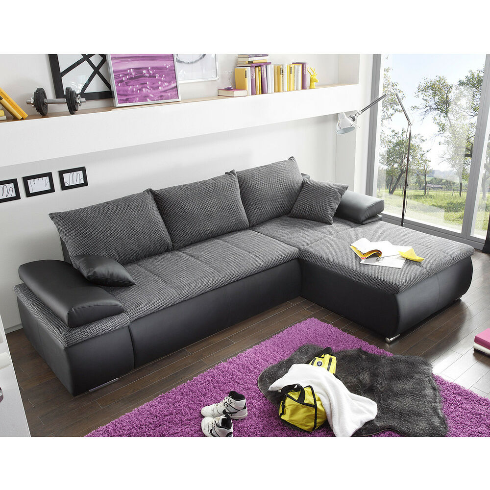 ecksofa celina sofa couch in schwarz und grau inkl funktionen kissen 274x180 ebay. Black Bedroom Furniture Sets. Home Design Ideas