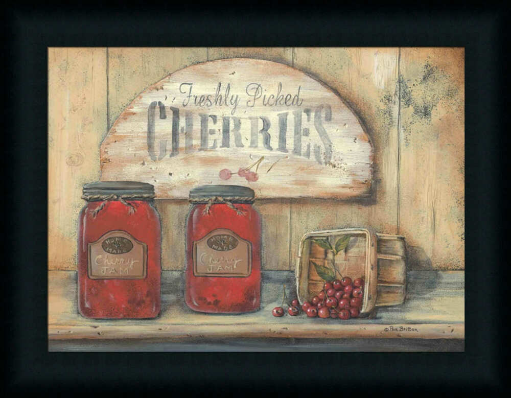 Cherry jam freshly picked cherries country kitchen framed for Art prints for kitchen wall