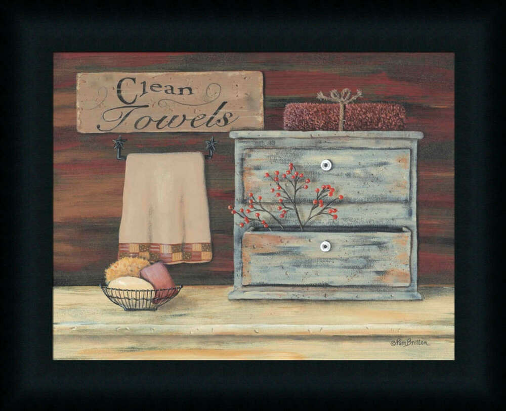 Clean towels primitive rustic bath room framed art print Decorating walls with posters