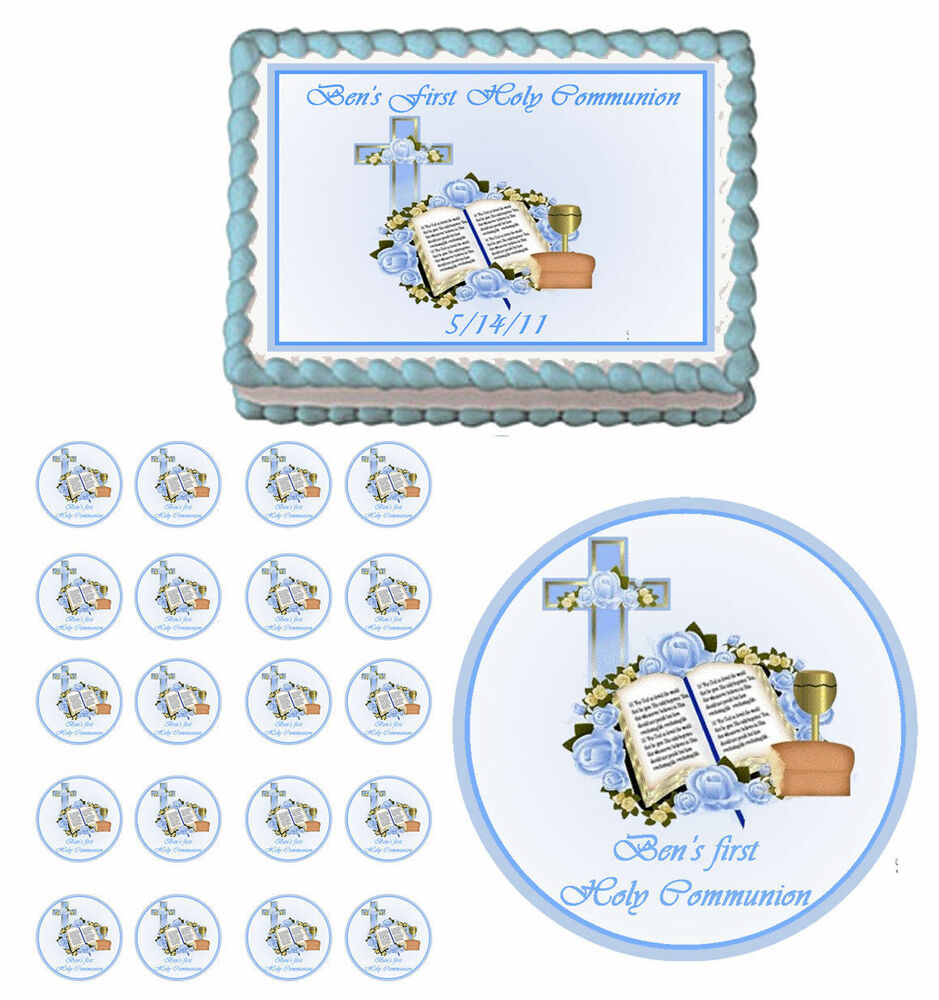 First Communion Baptism Christening Edible Party Cake ...