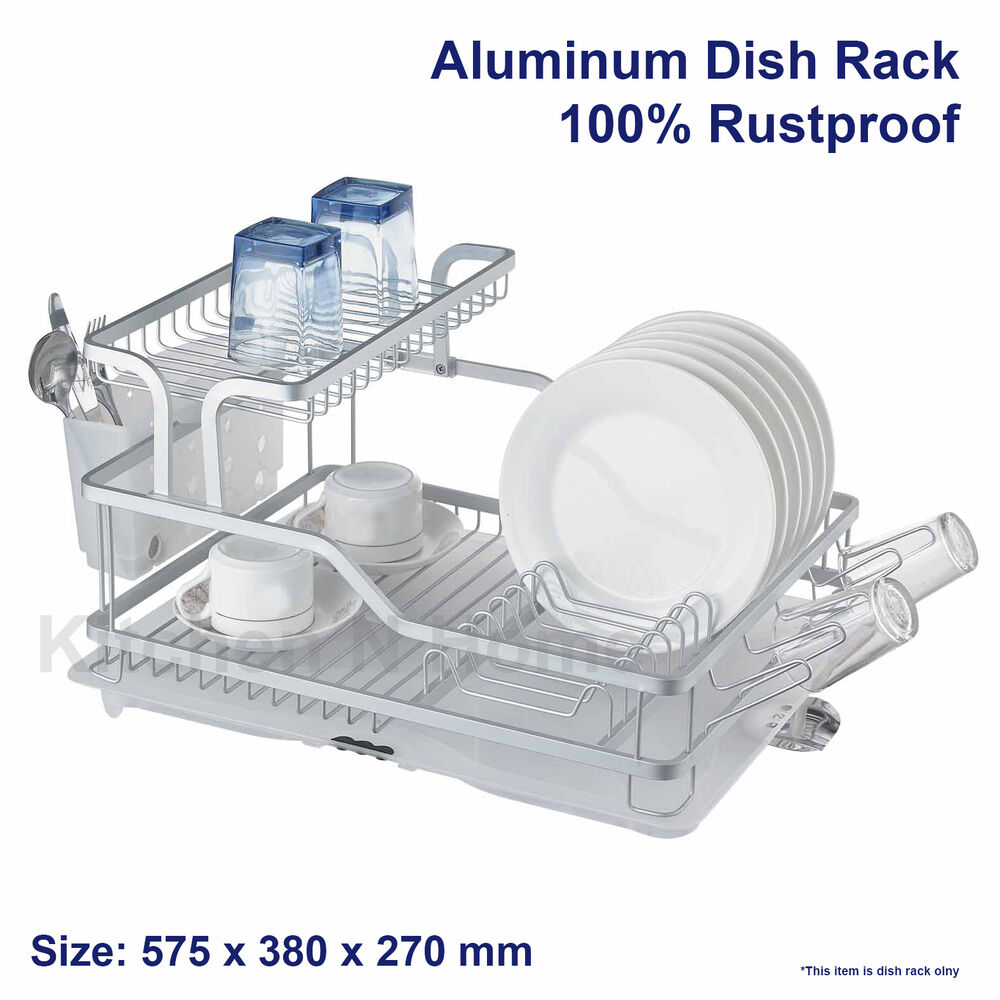 aluminum dish rack rustproof stainless dishrack drainer with tray holder ebay. Black Bedroom Furniture Sets. Home Design Ideas