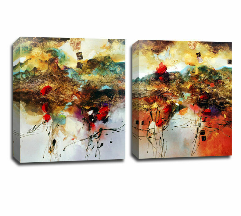 Peafaul Wall Art Print Poster Wall Art: Set Of 2 Abstract Color Pattern Stretched Canvas Prints