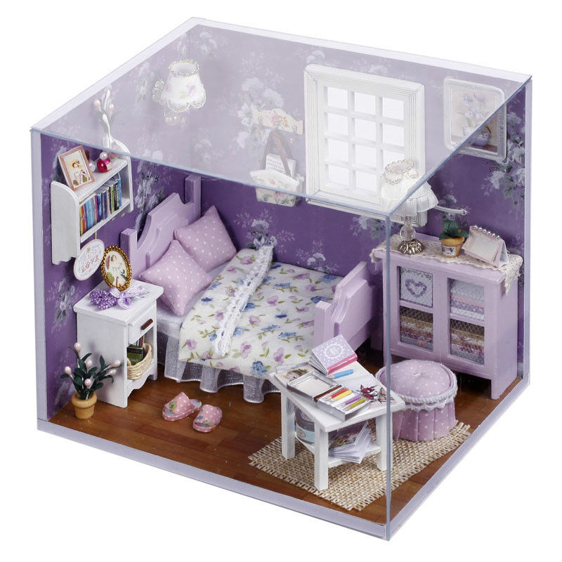 Dollhouse Miniature DIY Kit W/ Cover Sweet Sunshine Purple