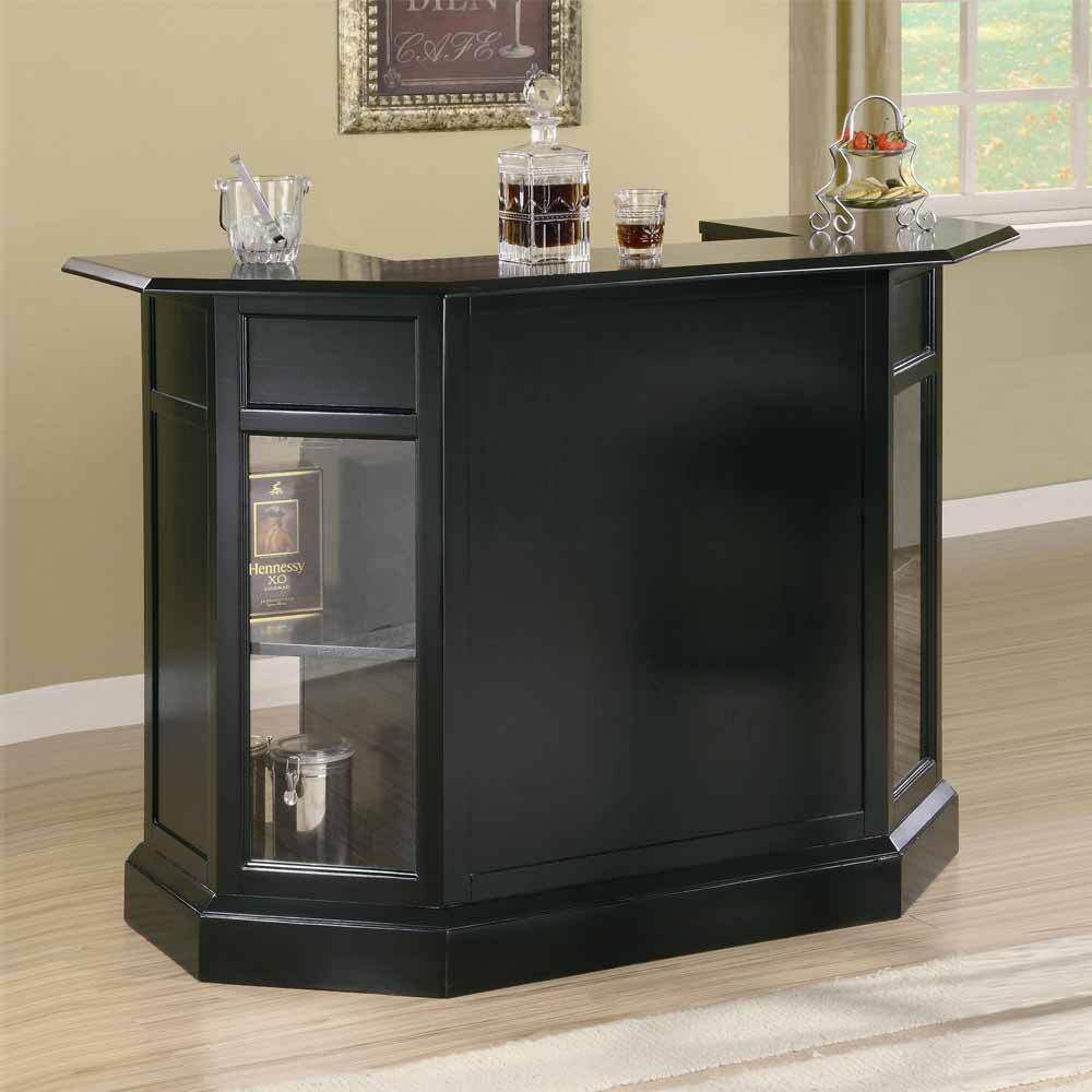Inwood contemporary home bar pub table server wine rack stemware storage black ebay Home bar furniture with kegerator