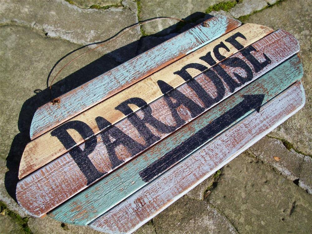 Wooden Coastal Decor: PARADISE WEATHERED WOOD PLANK SIGN~Beach Tropical Seaside