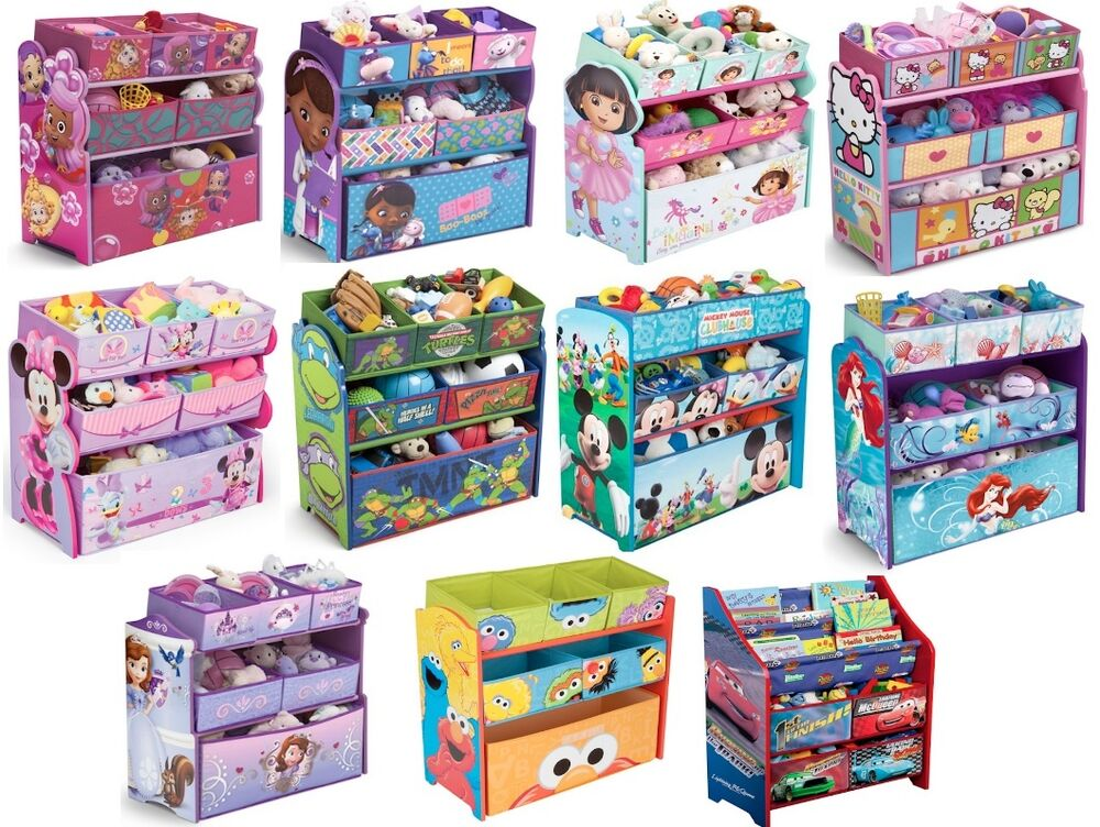 Kids Girls Boys Disney Multi Bin Toy Organizer Boxes