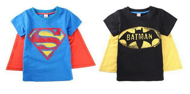 New batman superman kids toddlers t shirt with cape size for 7 year old boy shirt size