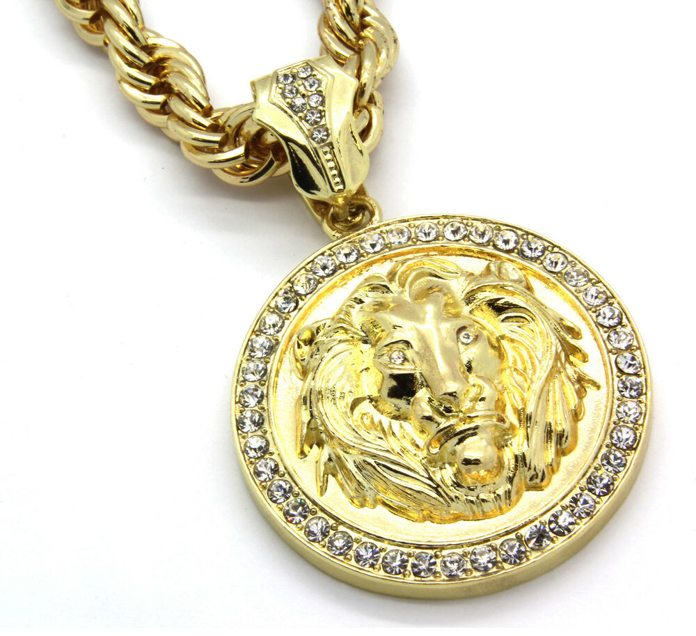 mens 14k gold plated 30 rope chain lion face clear eyes. Black Bedroom Furniture Sets. Home Design Ideas
