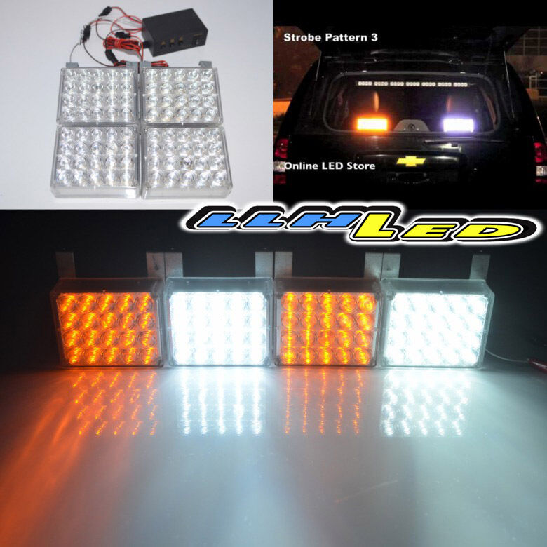 80 White/Amber LED Emergency Hazard Flashing Warning