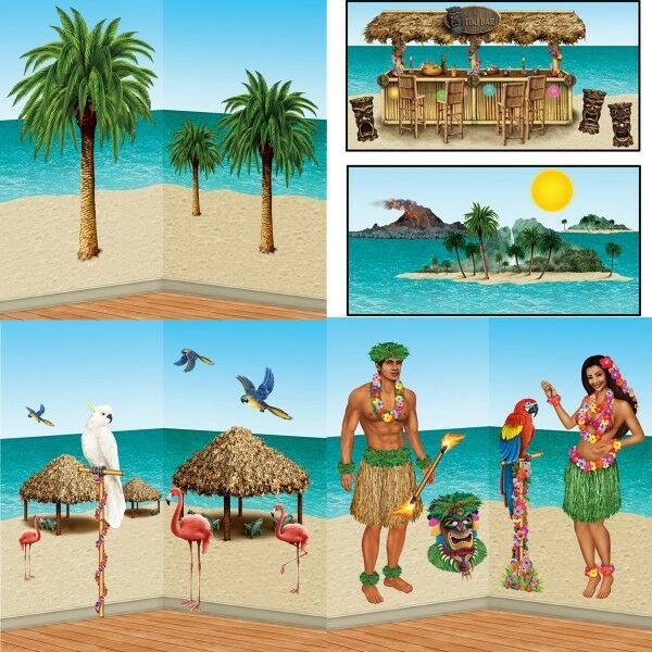 hawaii party beachparty wandhintergrund poster strand. Black Bedroom Furniture Sets. Home Design Ideas