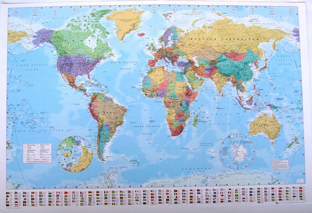 LARGE MAP OF THE WORLD laminated POSTER FLAGS 61cm X LICEN
