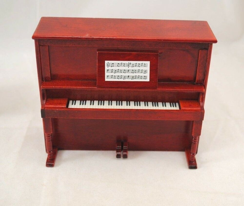 Upright Piano W Bench D7081 Miniature Dollhouse Furniture Wooden 1 12 Scale Ebay