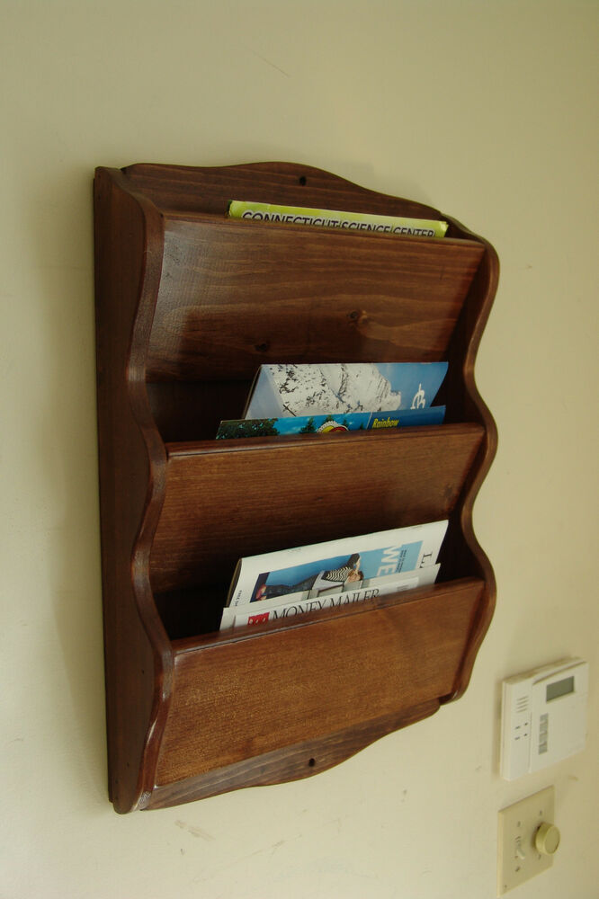 23 x 16 handcrafted wall wood mail organizer letter magazine rack e chestnut ebay. Black Bedroom Furniture Sets. Home Design Ideas