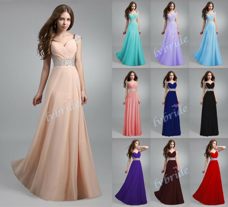 Renaissance Long Pageant Bridesmaids Evening Formal Party: New Long Chiffon Evening Formal Party Ball Gown Prom