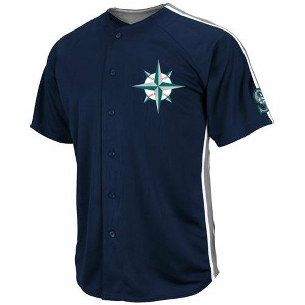 688eb490bbfa Majestic Seattle Mariners Navy Blue Crosstown Rivalry Full Button Sewn  Jersey